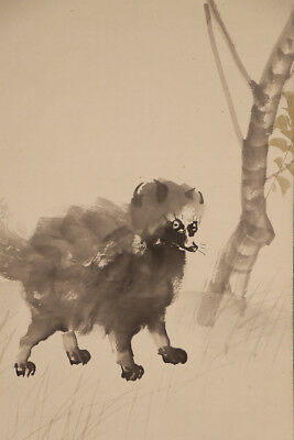 """JAPANESE HANGING SCROLL ART Painting """"Raccoon Dog"""" Asian antique  #E5063"""