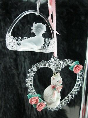 CAT Kitten in Basket Ceramic Cat in Hand Spun Glass Heart Christmas Ornament LOT
