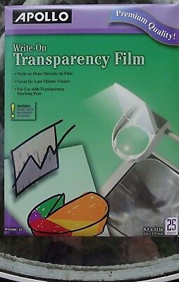 """Apollo Write-On Transparency Film 8.5"""" x 11"""" Clear WO100C-25 NEW Pack 25 SHEETS"""