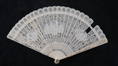 Antique Hand Carved And Pierced Fan With 3 Cartouche