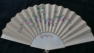 Gorgeous Hand Painted Pink Flowers On A Silk Fan