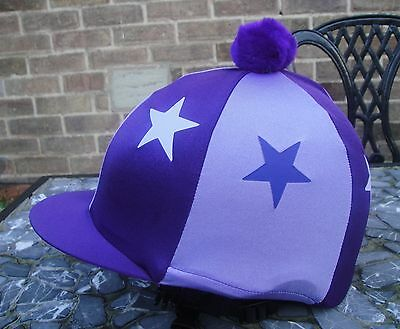 Riding Hat Silk Skull cap Cover PURPLE & LILAC * STARS With OR w/o Pompom