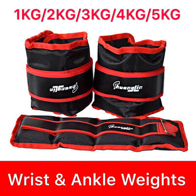 1/2/3/4/5 KG Adjustable Ankle/ Wrist/ Leg Weights Training Fitness Gym Sandbag