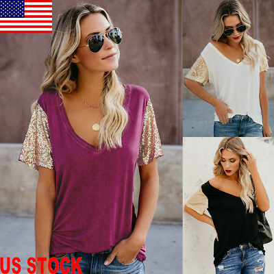 Fashion Women Summer V Neck Sequin Short Sleeve Loose Tops Casual T Shirt Blouse