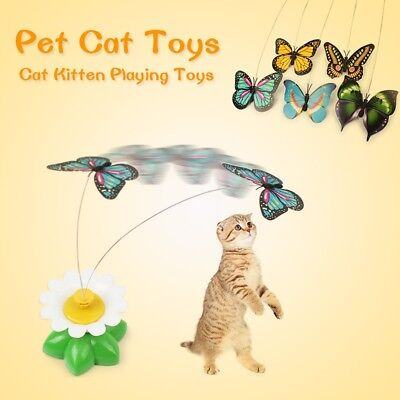 US Dog Cat Funny Electric Rotating Butterfly Bird Steel Wire Pet Teaser Play Toy