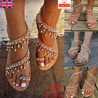 Womens Boho Pearl Sandals Ladies Summer Holiday Beach Flip Flops Flat Shoes Size
