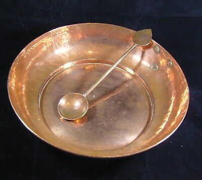 Lovely Arts & Crafts Style Copper Bowl  with Spoon
