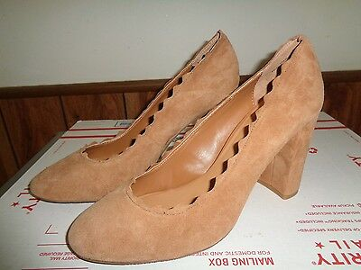 NEW Beige Tan Suede Pumps Shoes High Heels Womens Size 11M by Crown Vintage
