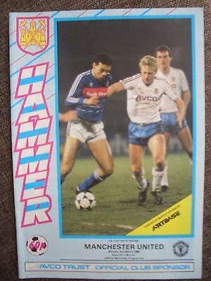 1986...WEST HAM UNITED v MANCHESTER UNITED....F.A.Cup rd 5....Football Programme