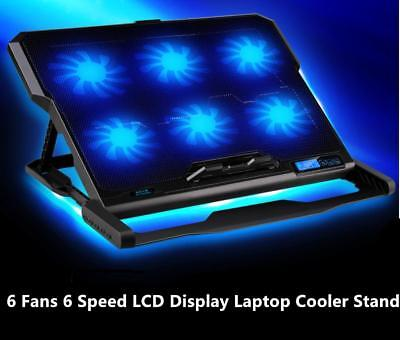 """6 Fans LED USB Adjustable Height Cooler Cooling Pad Laptop Notebook 7""""-17"""" Stand"""
