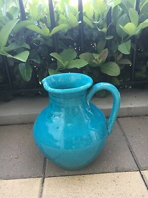 Decorative Glazed Blue Jug Can Be Used As Planter