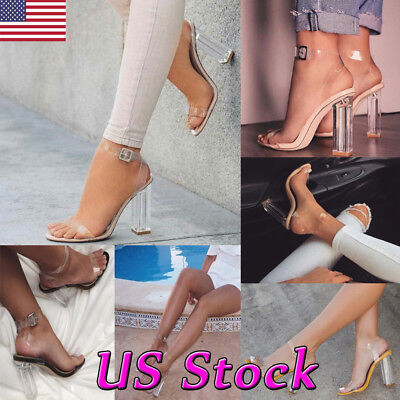 90856a920d94 Women Block High Heels PVC Ankle Strap Sandals Clear Transparent Shoe Party  Club