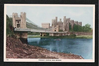 L@@K  Conway Castle and Bridge 1950's ? Postcard ~ GOOD QUALITY CARD