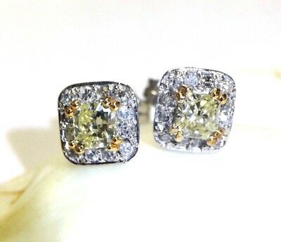 Natural 1CT Canary Yellow Radiant Cut Diamond Halo 14K Gold  Stud Earrings