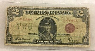 1923 $2 Dominion of Canada Bank Note Red Seal Circulated Two Dollars Canadian