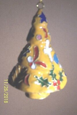 "Cloisonne' Tree Ornament:Yellow, 3 5/8"" H X 2 3/8"": W, Handmade,Christmas Gift"