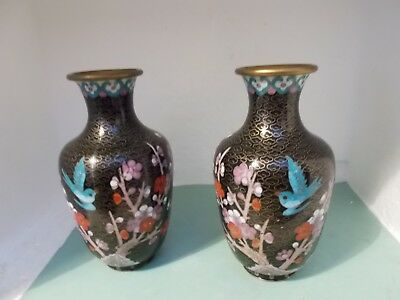 PAIR OF CHINESE CLOISONNE VASES (each 15.5cm high)
