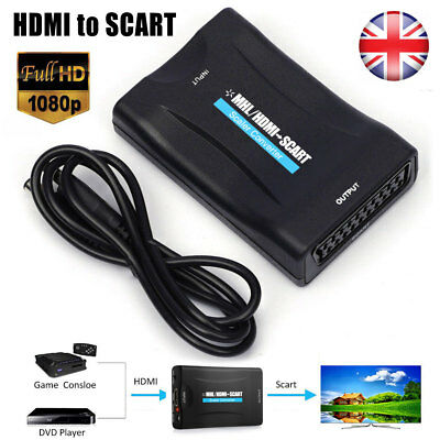 1080P HDMI To SCART Converter Cable Audio Video Adapter For HDTV DVD SKy PS3 uk