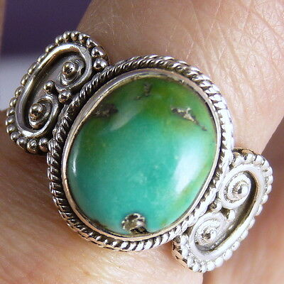 Filigree Lace Gem Size US 9 SILVERSARI Ring Solid 925 Sterling Silver TURQUOISE