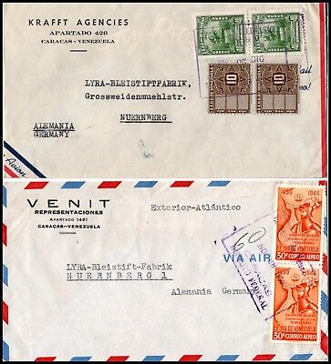 VENEZUELA: two air-mail letters from Caracas to Germany (321)