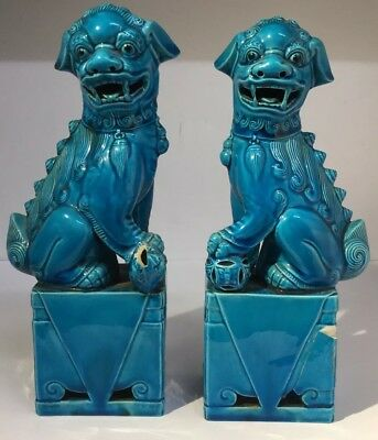 """Pair Antique Vintage Chinese Turquoise Blue Large Foo Dogs Figurines Height 10"""""""