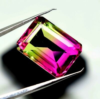 Ggl Certified 16.10 Ct  Emerald cut Multi Color Tourmaline Gem Best Offer