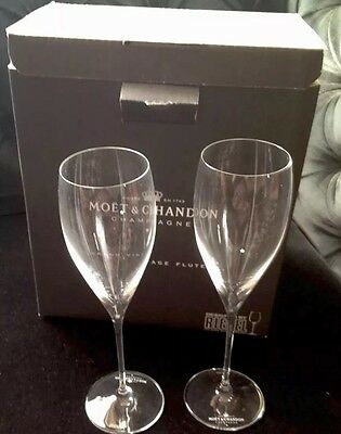 Moet Chandon Champagne Flute Grand Vintage Riedel New  X 2 Glasses Unboxed