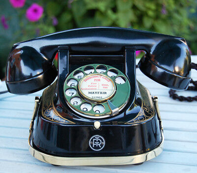 Belgium Bakelite And Metal Desk Telephone, Restored And Finished In Gloss Black