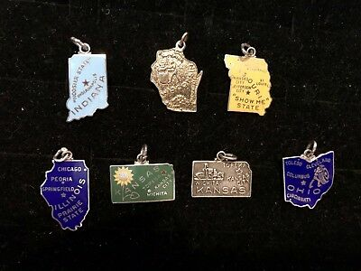 Lot Of Vintage Sterling Silver State Charms IN IL OH WI KS MS