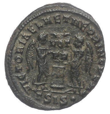 Roman Bronze Coin Follis Crispus Two Victories Siscia Ae19 Rare Rated R3