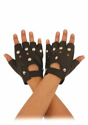 Leather Fingerless Gloves Biker Gym Driving Cycling Wheelchair Users Unisex