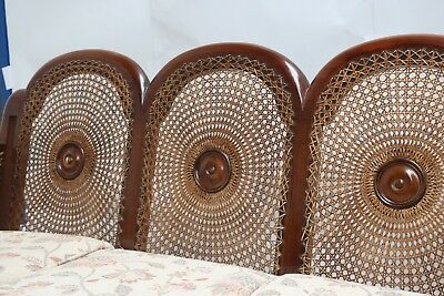 Antique Edwardian Mahogany Sofa & Pair of Chairs Cane Rattan Reed - Upholstered