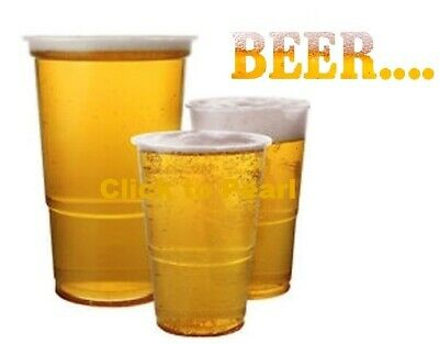 50 Disposable Clear Strong Plastic Pint / Half Pint Beer Glasses Cups Tumblers