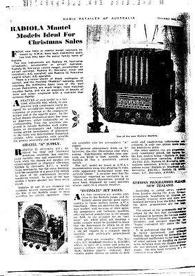 1937 AWA RADIOLA  LAMINATED A4 Copy of ORIGINAL ADVERTISEMENTS