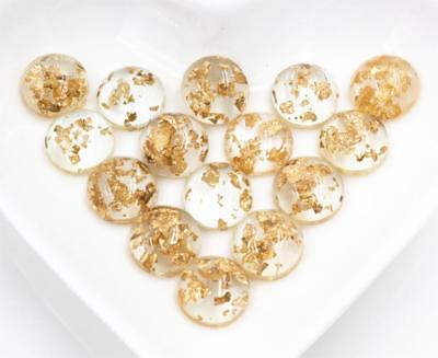 40pcs 12mm Gold Built-in metal foil Resin Cabochons  Jewelry DIY accessories