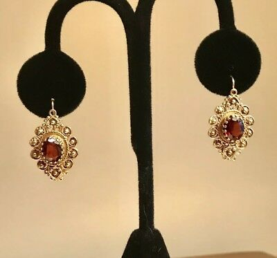 Antique 14K Solid Yellow Gold And Garnet Cannetille Filigree Pierced Earrings