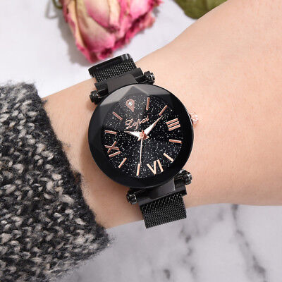 Fashion Starry Sky Stainless Steel Mesh Belt Watch Casual Quartz Analog Watch
