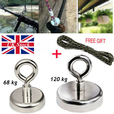 120kg/68kg Recovery Magnet Fishing Treasure Metal Detector with 30 Metre Rope