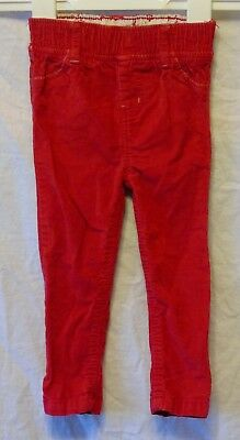 Baby Girls YD Primark Red Cord Elasticated Waist Trousers Age 9-12 Months