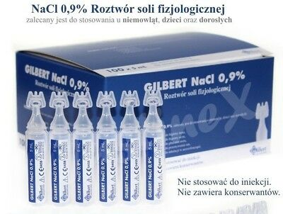 20 x 5ml Baby Sterile Saline Solution NaCl 0,9%Nebulizer Nose Ear Eye Lens Wash