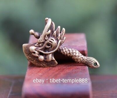 5 CM Chinese Pure Bronze Dragon axe Counteract Evil Force Aniaml Amulet Pendant