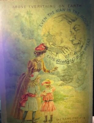 Antique Htl Trade Print Ad Heckers' Buckwheat Mother Daughters Man In Moon