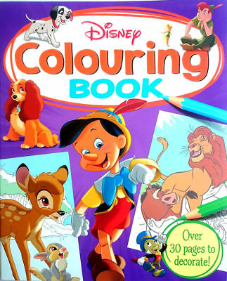 DISNEY Colouring Book 30 PAGES Art NEW Bambi Lion the King Pinocchio Dalmatians