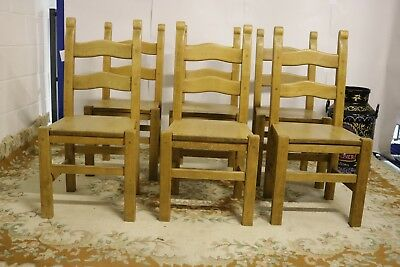 Set 6 Beech Ladder Back Dining Chairs - Reed - Antique Reproduction - Country