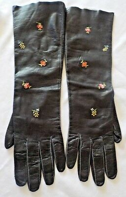 Vintage Black Long Leather Opera Gloves Floral Embroidered -Size Small