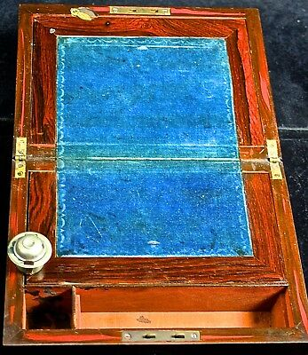 Antique Wood Writing Travel Desk-HAS ORIGINAL METAL INK CONTAINER & GLASS BOTTLE