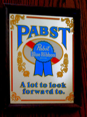 """Vintage Rare Pabst Blue Ribbon Mirror Sign, """"A Lot to Look Forward To"""""""