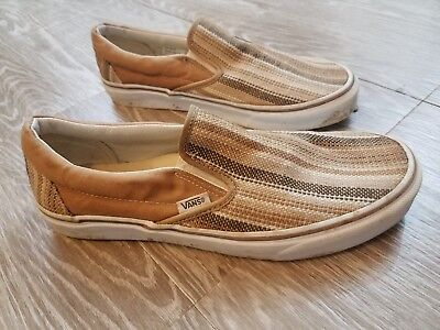 Vans Unisex Slip-on Shoe Size Women's 11.5 Men's 10 Striped Camel Casual