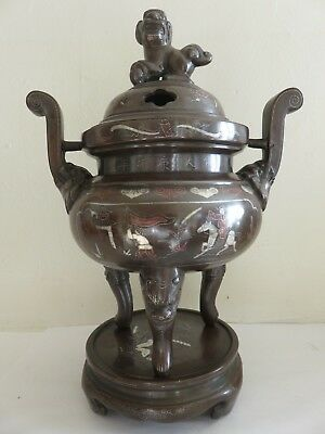 Chine Brule Parfum Bronze Nielle Antique Chinese Incense Burner Inlay Silver Xix