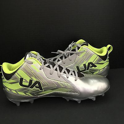 UNDER ARMOUR RIPSHOT MID MC Football Lacrosse Cleats Silver Neon LAX 11.5 Men's